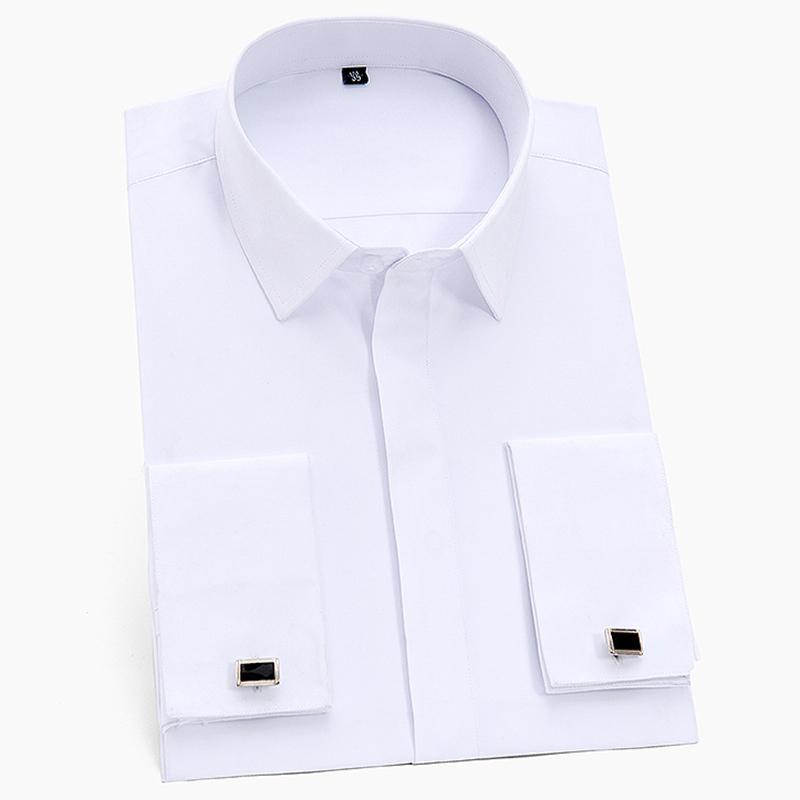 Francia mancuernas de los hombres de negocios de esmoquin camisas de cuello cuadrado de manga larga botón cubierto Llanura sólido camisa T200801 formales sociales