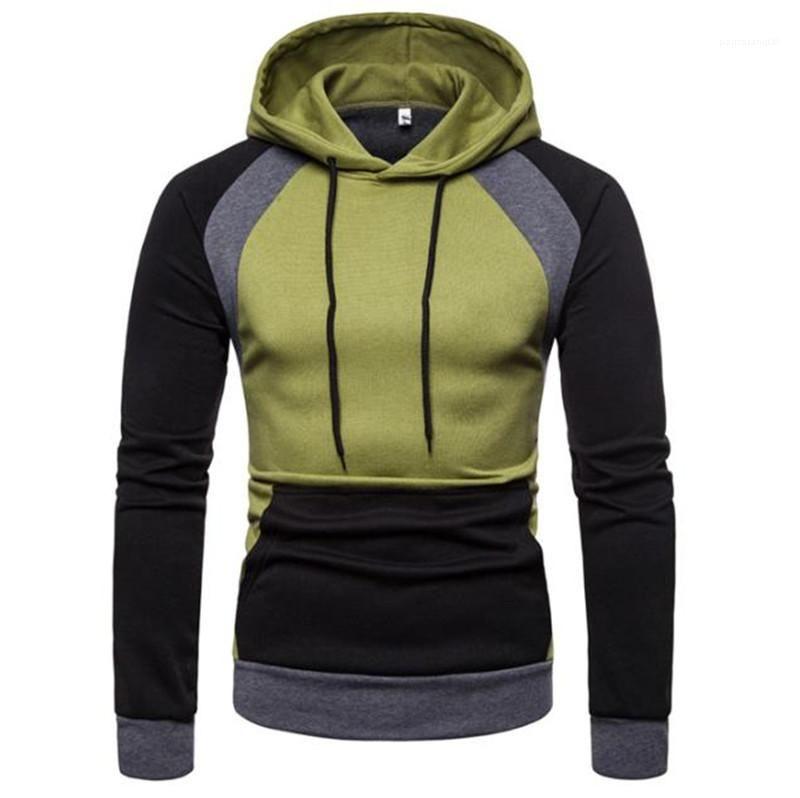 Erkek Kapüşonlular Kalın Moda Patchwork Renk Uzun Kol Kapşonlu Man Tişörtü Casual Homme Giyim Sonbahar Kış
