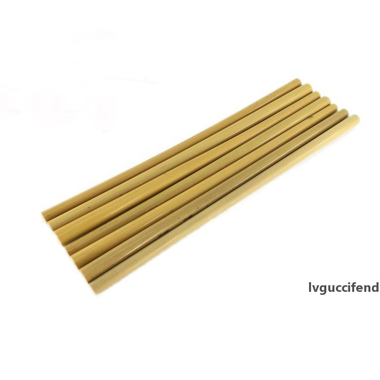 23 centímetros de bambu Beber beber palhetas Yellow Bamboo Natural Straw reutilizável Eco amigável Beber Hetero Natural palhas