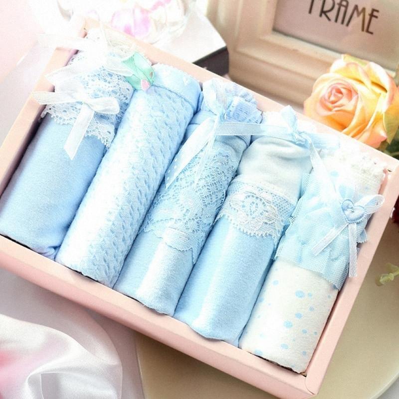 5pcs / scatola estate sexy donne dolci di stampa Slip Combinazione morbido cotone traspirante Mutandine con scatola regalo kl85 #