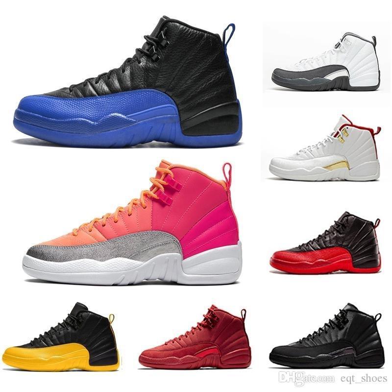 12 zapatos de baloncesto para el tamaño de los hombres calientes del sacador Juego Real Universidad de oro para hombre 12s capacitadores Callos Blanco Negro Moda Deportes zapatillas de deporte 40-47