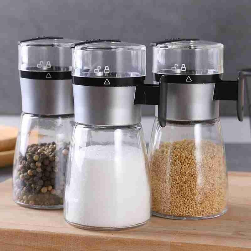 1PC المطحنة دليل الملح شاكر التوابل وعاء الرئيسية الملح الموزعة دفع من نوع زجاجة أدوات التحكم مطبخ طاحونة يدوية