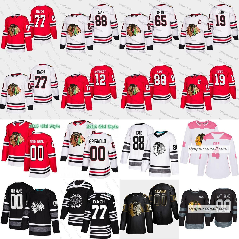 Cosida 77 Kirby Dach 2019-2020 Nuevo collar Chicago Blackhawks personalizada (XS-6XL) 88 Patrick Kane Lehner 19 Toews Hombres Mujeres Jersey del hockey juvenil