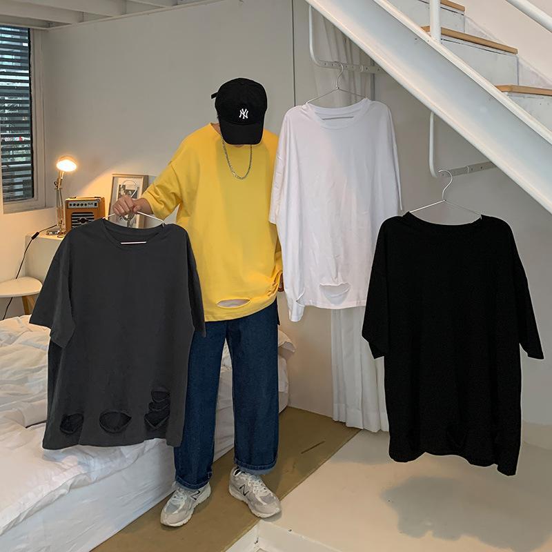 Mens Summer T-shirt Trend Trend Selvatico Top Allentato Harajuku Collo rotondo Camicia da taglio Casual Casual Five-Point Hole T-shirt T-shirt da uomo Abbigliamento