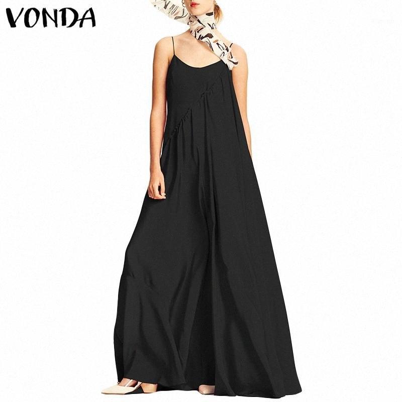 Vonda Kadınlar Elbise 2019 Yaz Plaj Seksi Spagetti Askı Kolsuz Uzun Maxi Elbiseler Casual Gevşek Artı boyutu Vestidos1 MU2n #