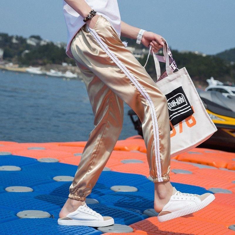 Para mujer para hombre del nuevo del verano liso Tela de seda pantalones cosechados hielo de seda pantalones casuales pantalones de deportes masculino IXwL #