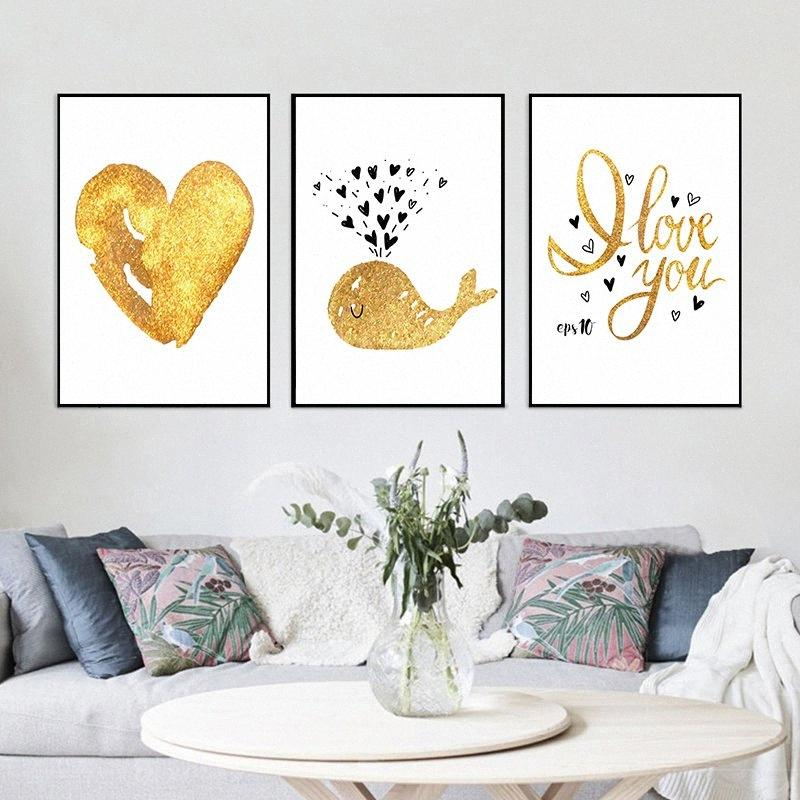 Nordic Simple Cute Golden Cartoon Dolphin Love Canvas Art Abstract Painting Print Poster Picture Wall Baby Room Modern Home Deco OmGv#