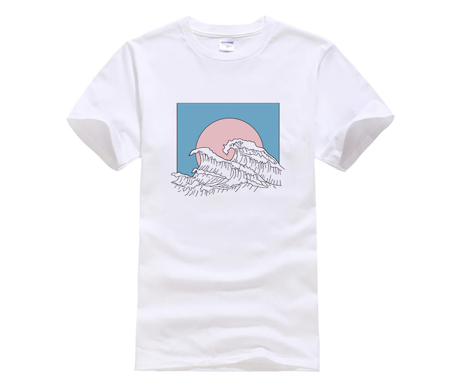 T-shirt girocollo fredda dell'uomo nuovo modo per gli uomini top a manica corta estate T grande onda bianca Tees