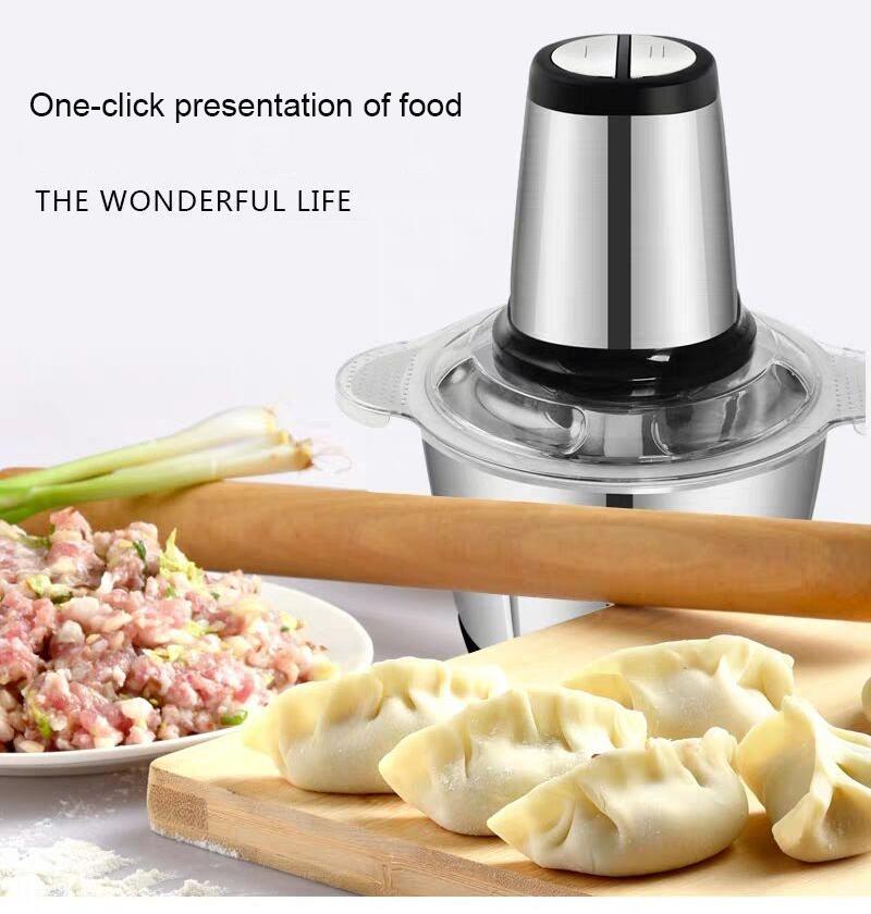 Acero inoxidable 3L caliente máquina de picar carne del interruptor eléctrico automático picadora de alta calidad trituradora de alimentos 220V Procesador