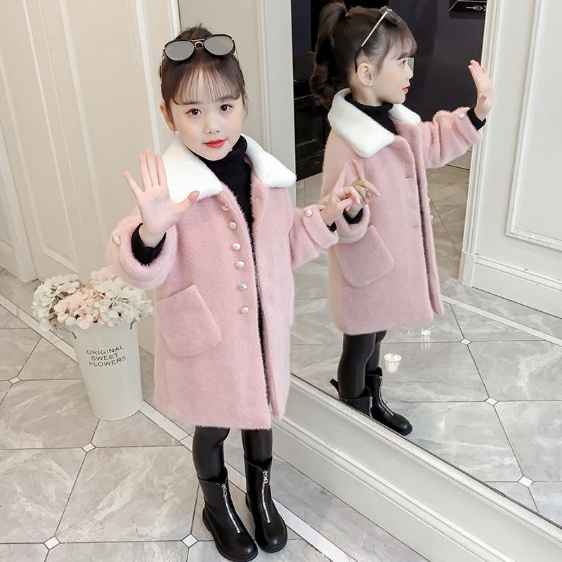 Les filles de style occidental de vison manteau imitation 2020 Nouvelle laine de laine d'hiver Les enfants des filles de laine épaisse manteau de laine mi-longueur