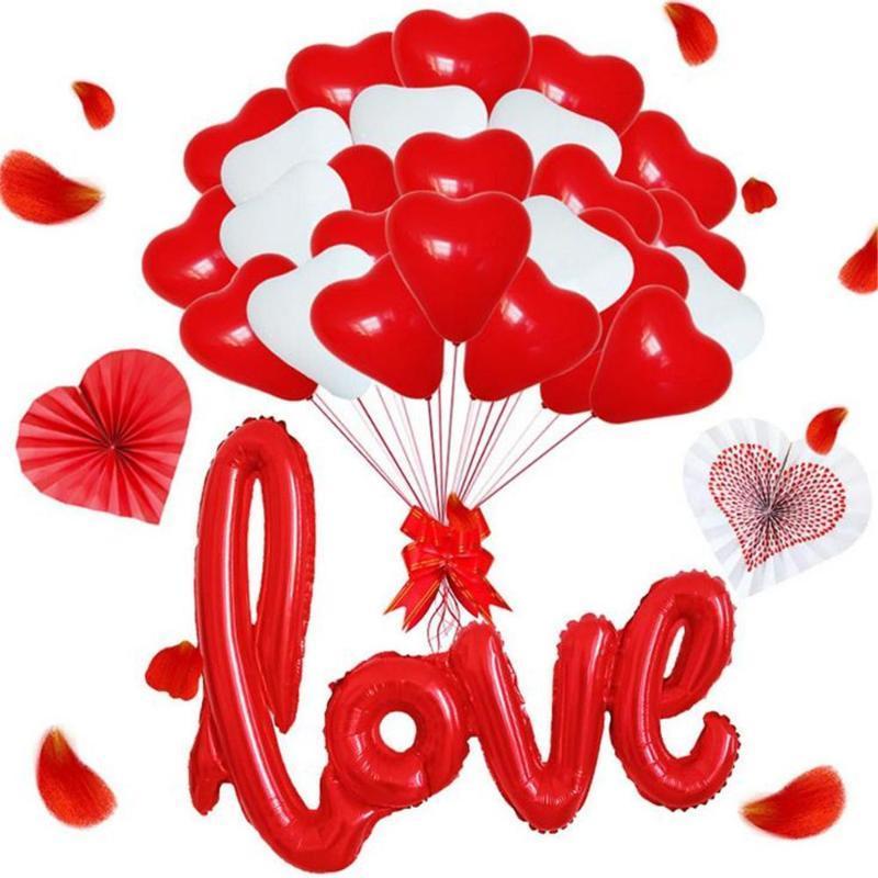 الديكور إلكتروني بالونات 12 بوصة الحزب مجموعة الوردي على شكل قلب اللاتكس بالونات ورقة مروحة الحب مجموعة