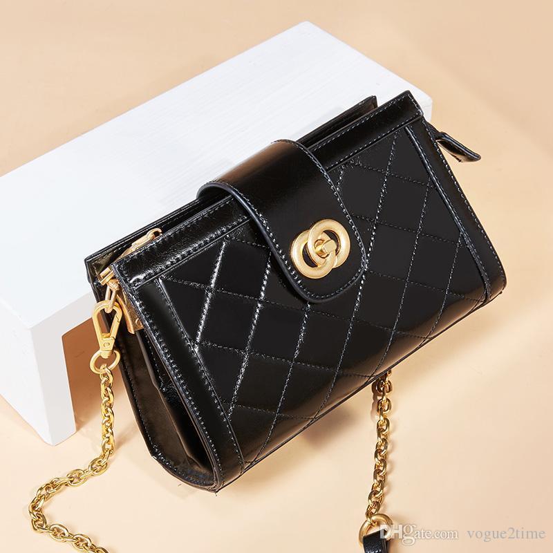 Diamond leather small square bag ladies fashion design single shoulder wild diagonal bag lady new casual elegant chain small box bag 1155