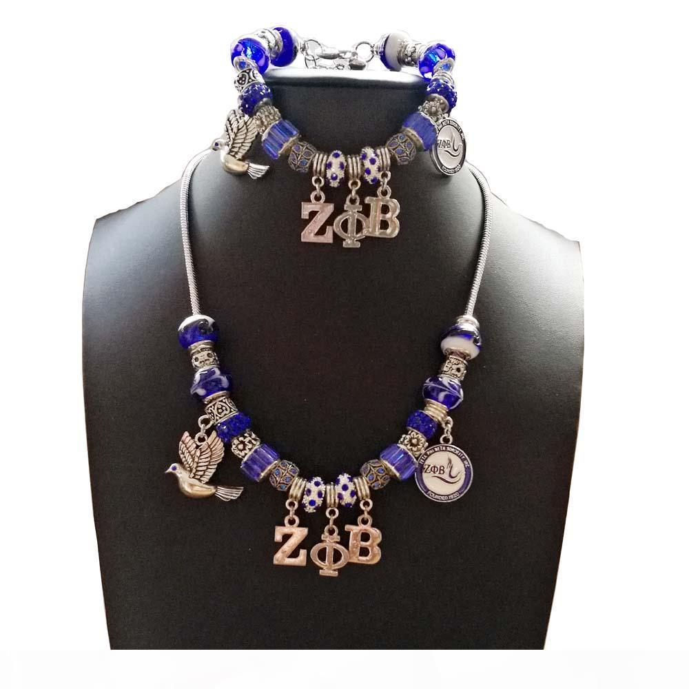 Estilo europeo de plata de la vendimia plateó encanto Pandor Zeta Phi Beta Sorority griega UPB DIY collar de la pulsera Jewerly