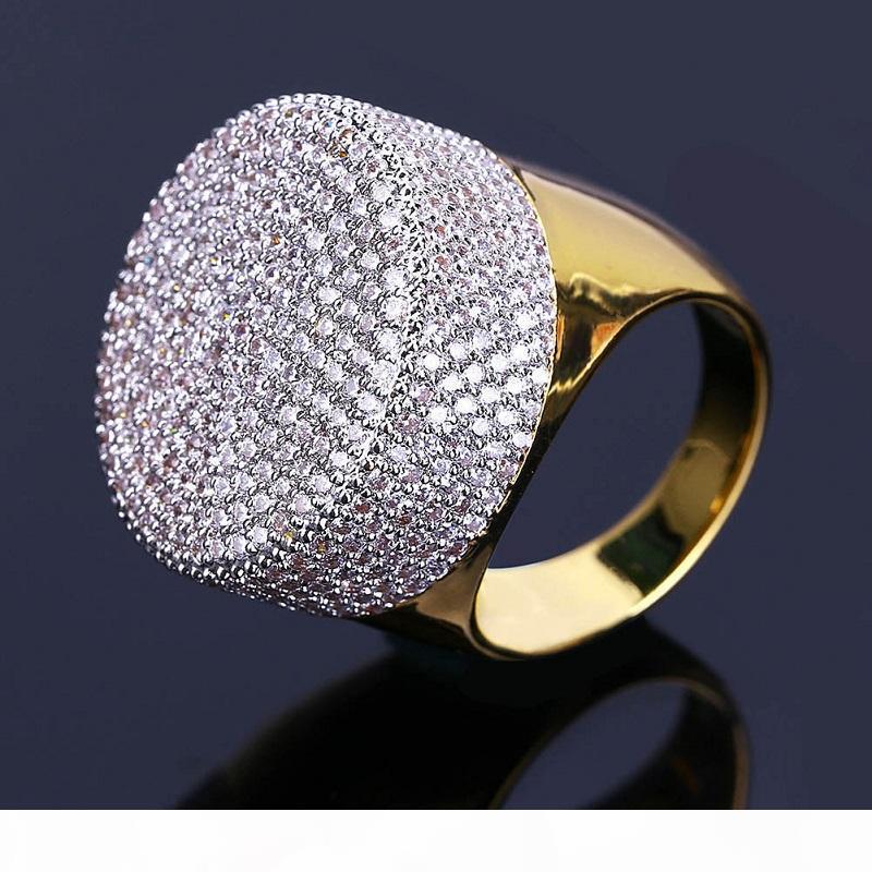 Mens Hip Hop anéis de ouro Jóias Moda congelado para fora anéis de alta qualidade Gemstone simulação anéis de diamante para homens