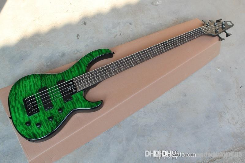 New Arrival MODULUS 5 Strings Active Pickups Bass Electric Guitar Green Water Ripple In Stock huahui