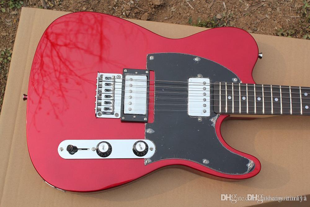 Rote E-Gitarre mit 2 Humbucking-Pickups, schwarzer Pickguard, Palisander-Griffbrett, Chrom-Hardwares, maßgeschneiderte Dienstleistungen