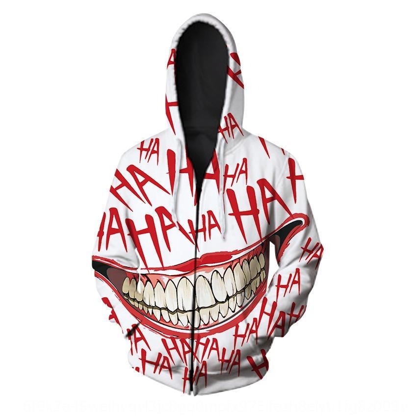 oESt6 Yeni erkek ve kadın kapşonlu hırka palyaçonun dijital baskı 3D kazak hoodie kişiselleştirilmiş fermuar kazak HAHA gündelik moda