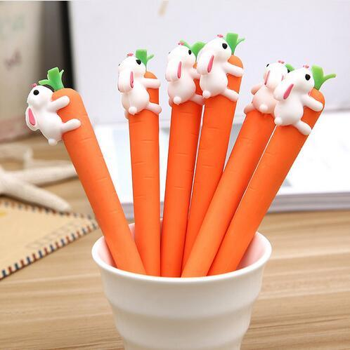 new cute cartoon creative white rabbit love carrot students black neutral pen office signature pen Stationery for office GB625