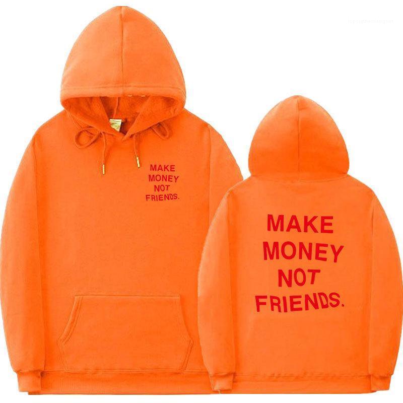 Mode Lettre Hoodies Couple d'hiver GAGNER DE L'ARGENT pas d'amis Sweatshirts hommes occasionnels Hiphop Pull Vêtements pour hommes