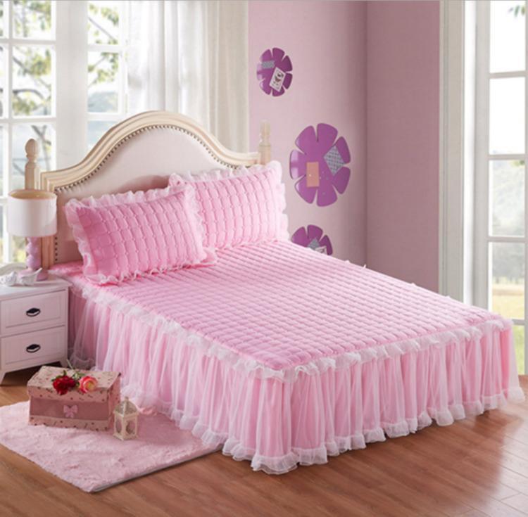 Creativo Lace 1 Pezzo letto Skirt + 2pieces Federe set da letto Principessa Bedding copriletti foglio letto per letto Ragazza dimensioni copertura re / regina