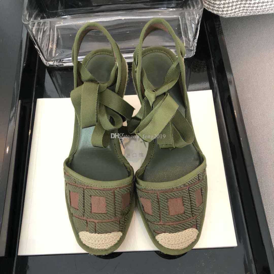 Sandali femminili firmati lettere del ricamo di modo estate scarpe pescatore corda piattaforma casuale canapa sandali intrecciati Baotou di grandi dimensioni 35-41