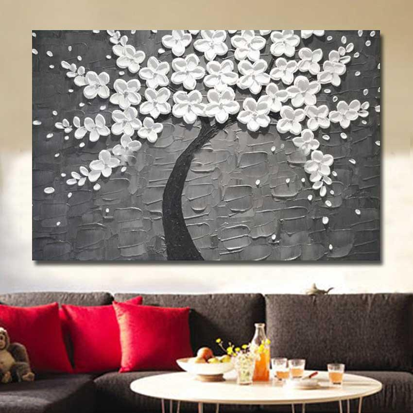Free Shipping 100%Handmade Abstract White Flowers Oil Painting on Canvas Pictures Wall Image Picture Room Home Decor No Frame