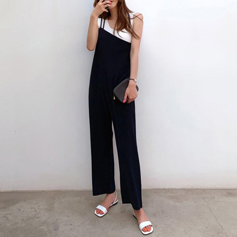 Office Ladies Korean Japan Style Black Jumpsuits Women Plus Size Loose Casual Wide Legs Backless Female Elegant Romper Jumpsuit
