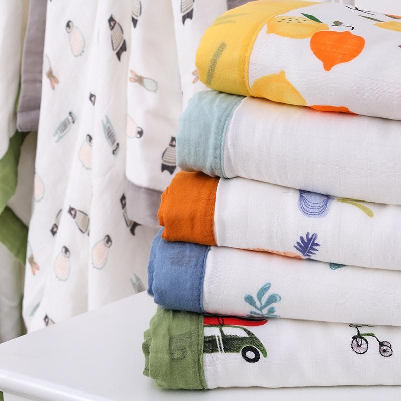 DFDsq algodón puro gasa de dibujos animados de seis capas edredón infantil para niños de borde de color amplia baño Blanket clase toalla Una manta edredón absorbente baño para