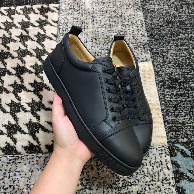 Alta Qualidade Barato Luxo Top Homens Mulheres Sapatos Vermelho Sneaker Júnior Trainadores de Couro Preto Preto / Branco Low Cut Trainers