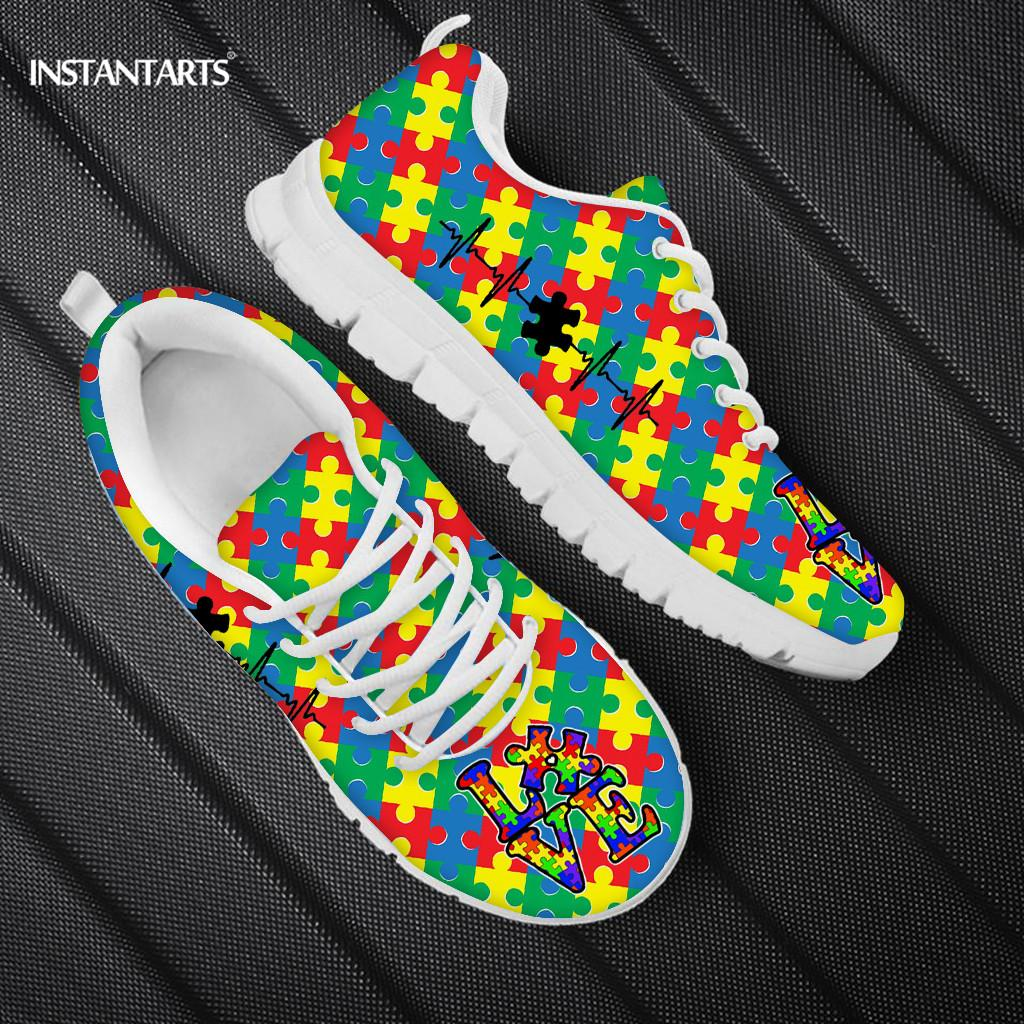 Ribbon Autism Art Patterns Women's Flats Lace Up Summer Women Shoes Mesh Breathable Walk Sneakers Female Sneakers