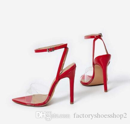 Verão Limpar Sandals Women High Heels Transparente Cruz PVC Stilettos com tira no tornozelo Perspex Heeled ocidental do projeto Sandal