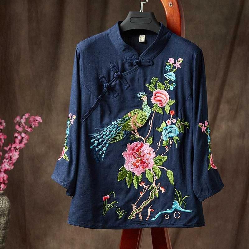 Senhoras chinês cobre a camisa Hanfu Bordados Vintage étnico suporte literário Collar Algodão Linho estilo chinês Roupa Mulheres TA1384 A5Wt #