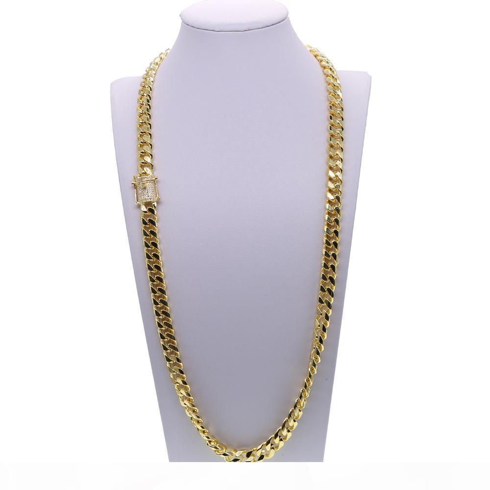 """24"""" 28"""" Golden Hip Hop Jewelry Bling Mens Ampia cubana link Miami della CZ Boy uomini freddi ghiacciato fuori la catena della collana di C19041704"""