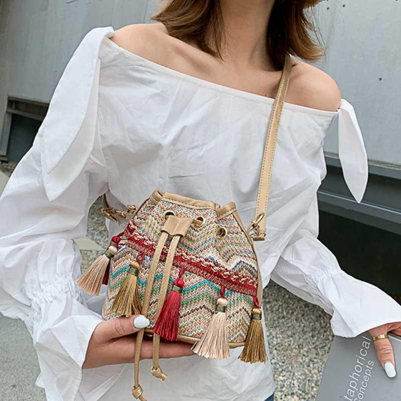 2020 Women Tassel Straw Bucket Bag Ladies Summer Chinese Style Knitting Shoulder Crossbody Small Soft String Leisure Hand Bags