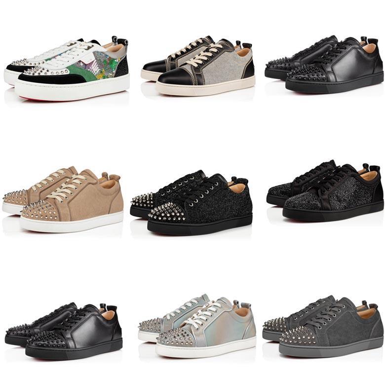 2020 sapatos de alta qualidade Moda Couro inferior Red Studs estilista Shoes Plano de baixo Botas Spikes sneakers mulheres partido Homens sapatos tamanho 34-48