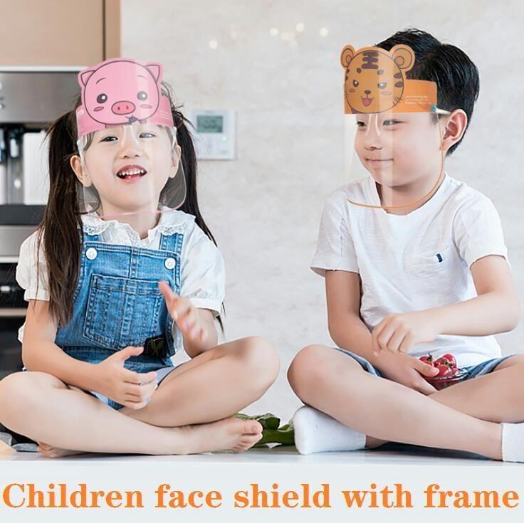 Protector de la cara de PET de dibujos animados de los niños con los vidrios de seguridad de protección de Chidren mascarilla facial anti-niebla Máscara de aislamiento a prueba de salpicaduras visera FY8094