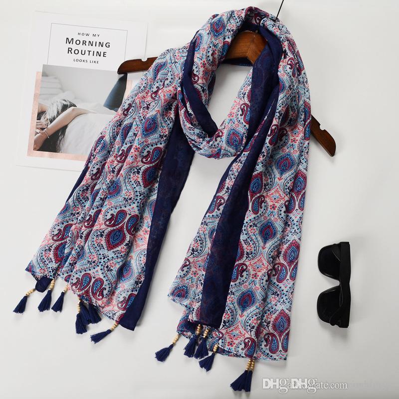 Al por mayor nuevo de alta calidad de la bufanda del algodón de seda de la borla de la protección solar, viaje de la moda japonesa chal decorativo bufandas toalla de playa Pareos China
