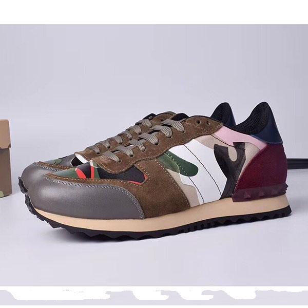 Autunno della molla nuovi multicolore camuffamento degli amanti dei pattini di sport rivetto scarpe casual allacciatura alla moda comodi scarpe sportive traspiranti HC01