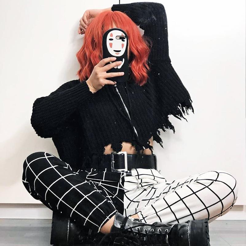 2020 yaz Kore bf sokak hip hop ekose pantolon eğlenceli kadın kişilik büyük boy Vintage dama tahtası baskı çift tam pantolon T200727