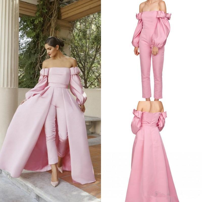 Rosa Long Sleeve Prom Jumpsuit com destacável Train Alças inchado mangas compridas Two Pieces Vestido com terno Pant