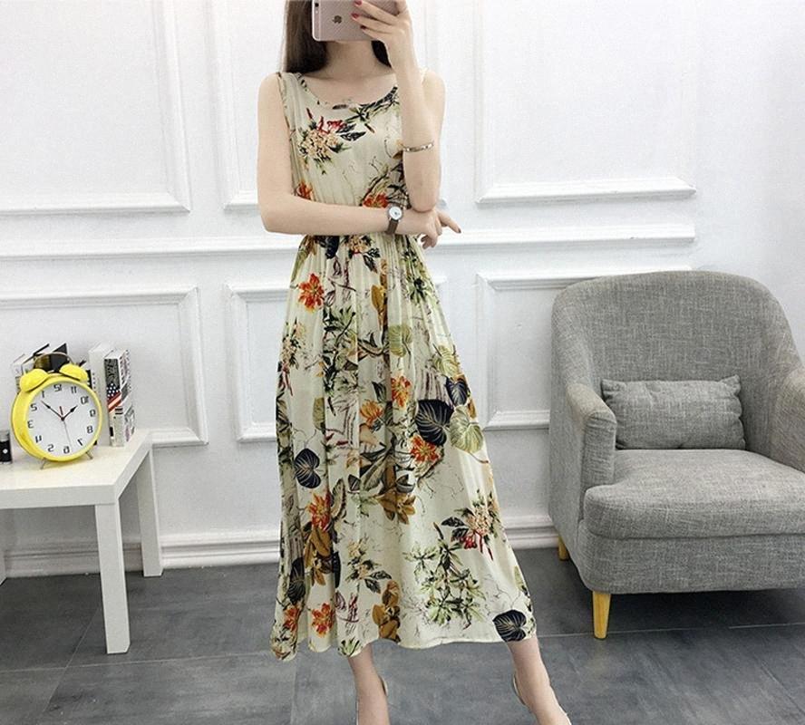 Boollili Beach Dress Verão 2020 Mulheres Boho Floral Printted vestidos longos Feminino Sexo mangas Evening Partido Lady Dress Vestido de Verão QPXN #