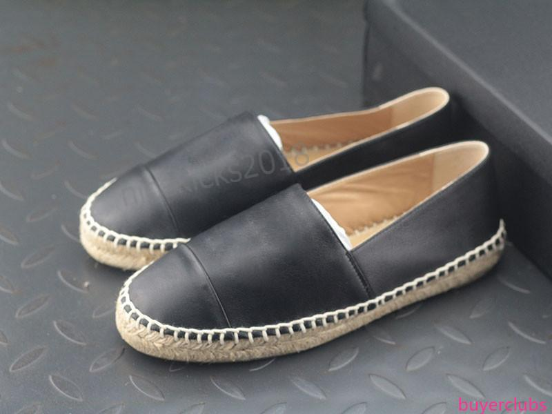 All Black Designer Casual Shoes Slippers Soft Straw Weaving Loafer Espadrilles Leather Cap Toe Canvas Chaussures Luxury Ladies Slip On