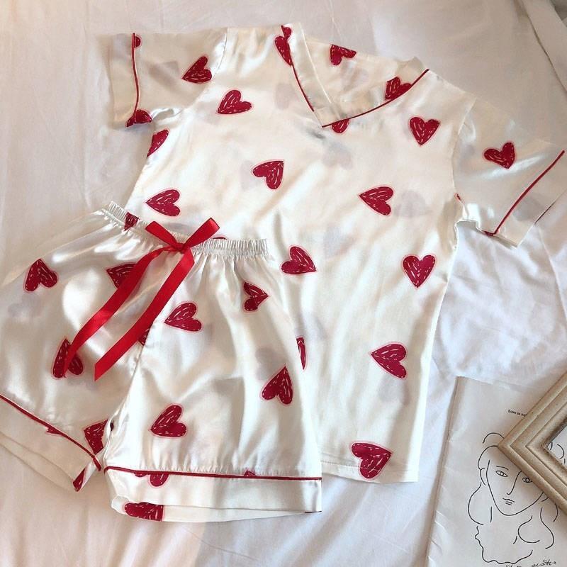 Pajimas для женщин Сердце печати с коротким рукавом пижамы пижамы набор летних женщин Nightgown дамы плюс размер пижамы Homewear Y200708