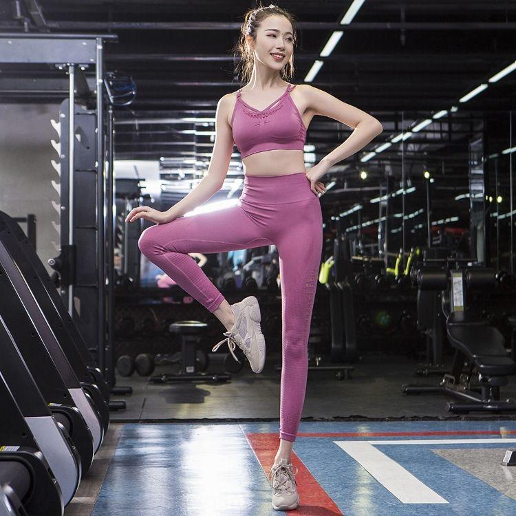 Йога костюм женской 2019 Новый полым из спины бегущих упражнений Нижнего белья спортивных фитнес-упражнение фитнеса бюстгальтера брюки 2-х частей комплект