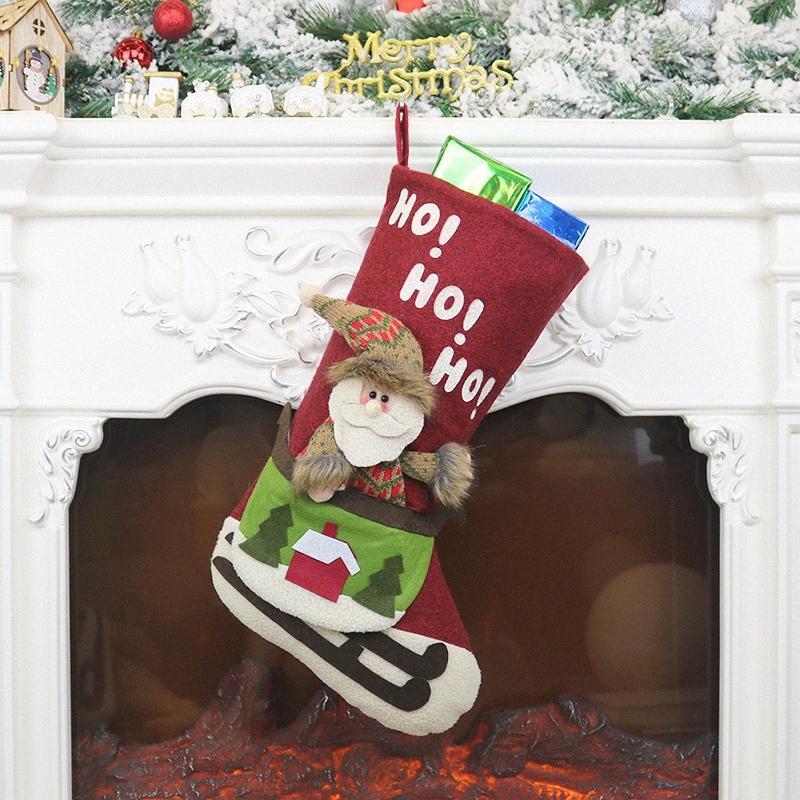 Qualité pour Noël Chaussettes Hanging cadeau Candy Bag Hanging Arbre Décoration Maison Fournitures Jardin DKm2 #