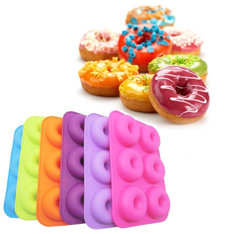 ديي جولة دونات العفن أدوات المطبخ الخبز عموم سيليكون الكعك صانع العفن الأزياء فندان كعكة الخبز الحلوى قوالب المخبز 6 ألوان DBC BH1356