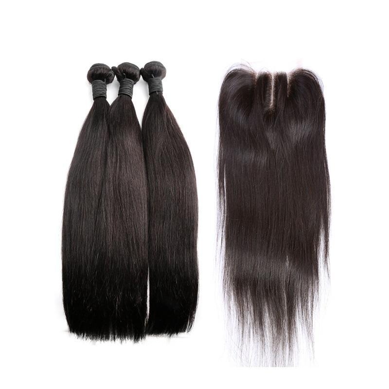 Ludzkie Włosy Wefts z zamknięciem koronki 3 Część Brazylijski włosy jedwabiste prosty kolor naturalny 8-34 cal Darmowa wysyłka Bellahair