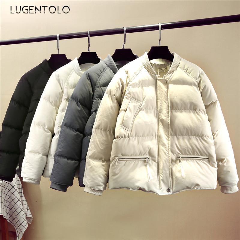 여성용 Parkas Lugentolo Winter Jacket 여성 파카 두께의 따뜻한 솔리드 지퍼 한국어로 느슨한 캐주얼 패션 여성용 코트