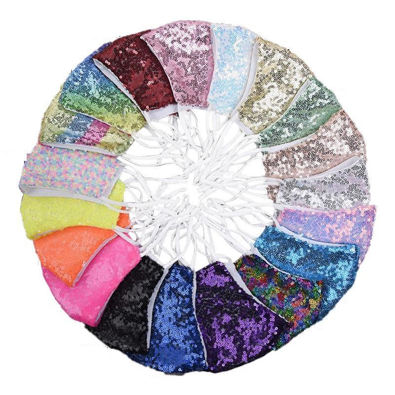 Kadın Moda Yüz Nefes Bling Bling Yeniden kullanılabilir Stokta 19 Renk Maske Payet Yıkanabilir Yüz Ağız Maskeleri Maske
