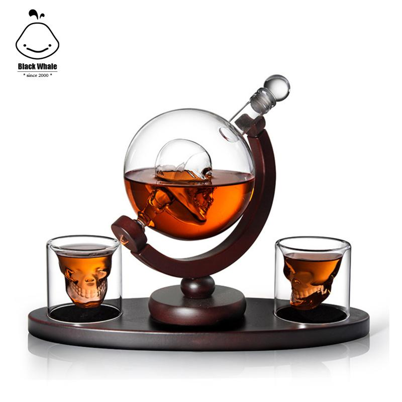 New hot birthday gift for man for dad for husband whiskey decanter wine set skull shaped drinking glasses